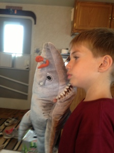 Here's Eddie with our shark friend Chum searching for Nemo
